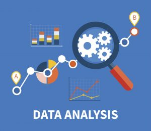 Banner with focused magnifying glass on gear and multicolored pie chart with name Data analysis on blue background.