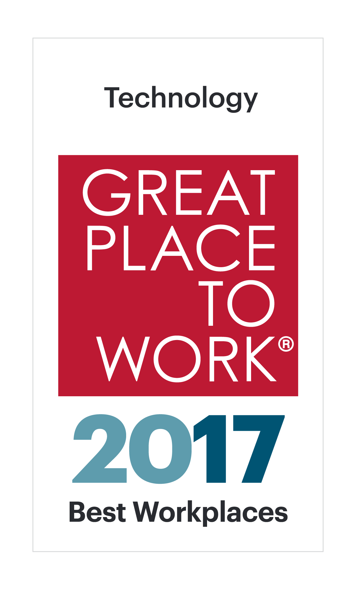 2017 Best Workplace in Technology by Great Places To Work
