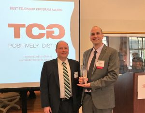 Michael Drescher and Peter Fedders accept the goDCgo Ambassador Award on behalf of TCG.