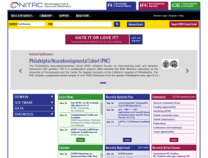 Screenshot of the redesigned NITRC.org homepage.