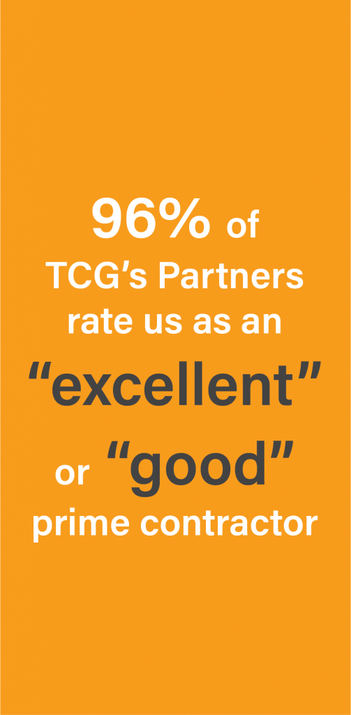 "96% of TCG's Partners rate us as an ""excellent' or ""good"" prime contractor"