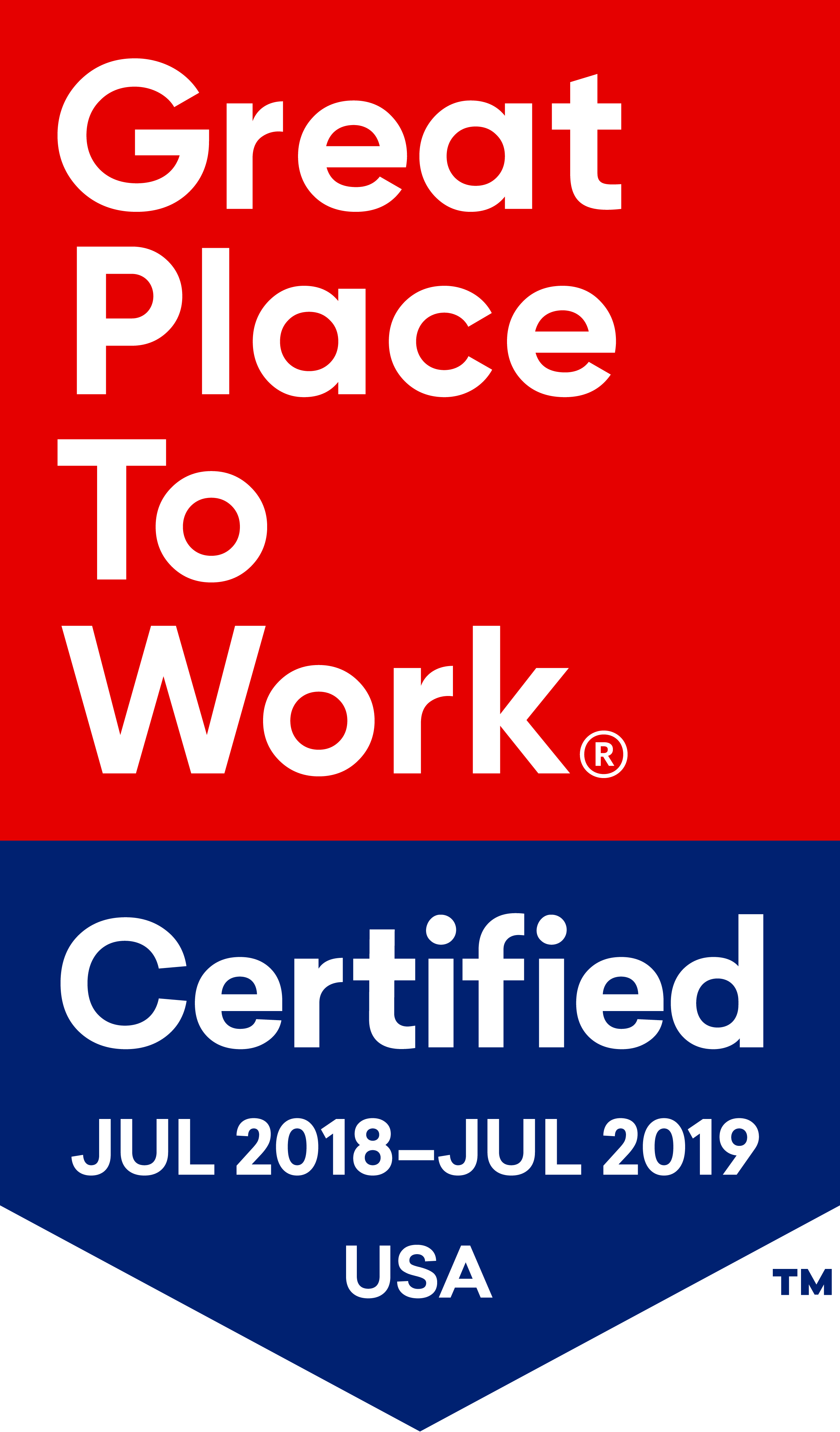 Great Place to Work Certified July 2018-July 2019