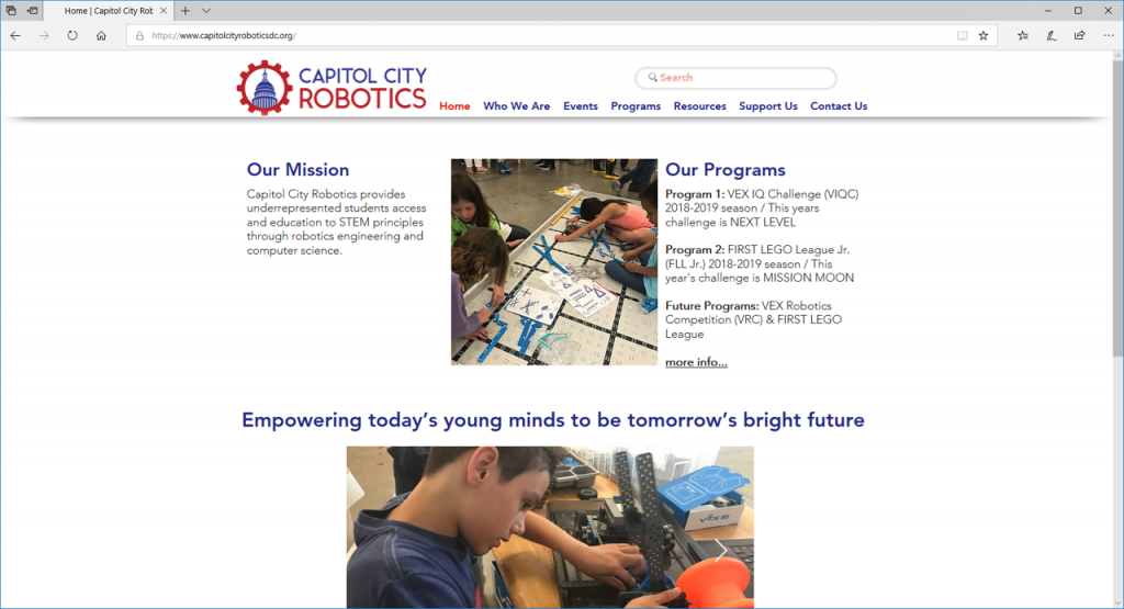 Capitol City Robotics Website Home Page