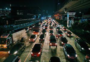 Street traffic at night