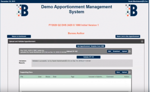 Demo view of the Budget LoB Apportionment Manager