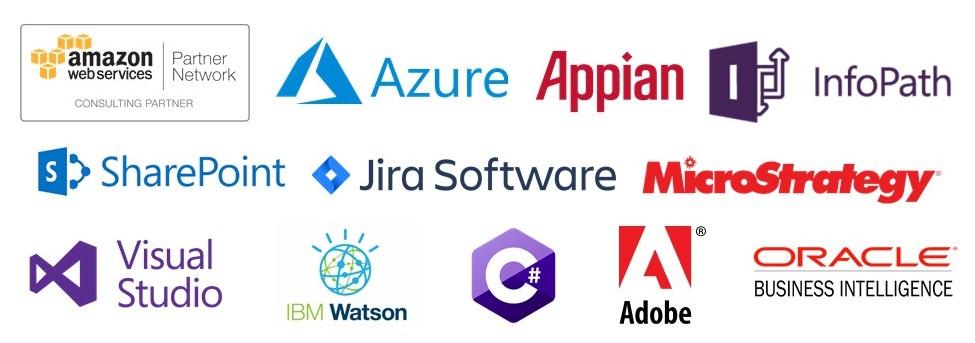AWS, Azure, Appian, Microsoft (C#, Visual Studio, InfoPath, SharePoint), Atlassian Jira, Adobe Creative Cloud, MicroStrategy, OBIEE (Oracle Business Intelligence Enterprise Edition)