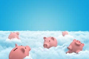 3d rendering of five piggy banks in the clouds.