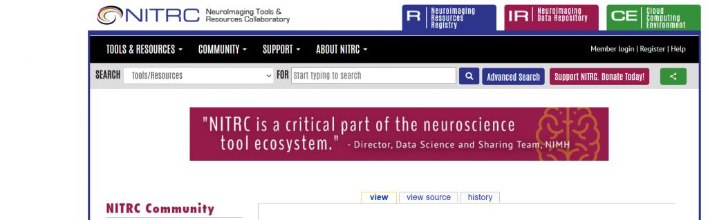 Screen shot showing the header an menu of the NITRC site.