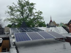 Solar panels on the roof of TCG headquarters.